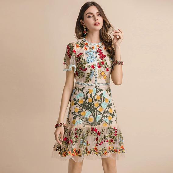 Vestio Feminino Verão Floral Luxo Importado Asian