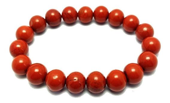 Pulseira Pedra Natural Jaspe Vermelho Unissex Artesanal