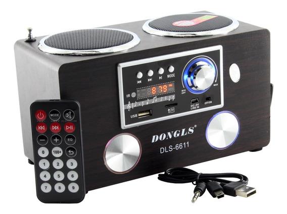 Rádio Portátil Vintage Só Fm Dongls Dls-6611 Com Bateria