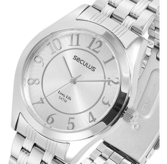 Relógio Seculus Feminino Prateado - Original