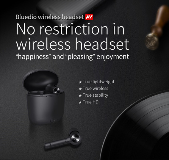 Fone Tws Bluetooth Bluedio Hi Hurricane Lacrado Preto