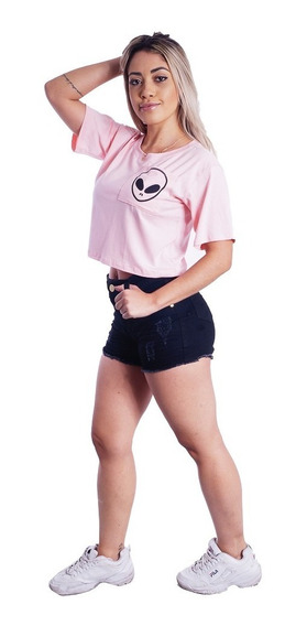 Camiseta Feminina Cropped Et Alien Espelhado Tumblr Ts #075