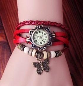 Relógio Feminino C Pingente Couro Lindo Analogico Vintage
