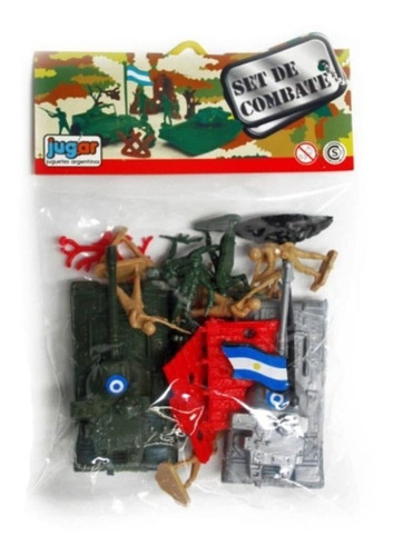 Set Combate Soldados Plastico Con Tanque Muro Jug.ar 20 Sold