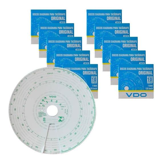 Kit 10 Caixas Disco Diagrama Tacógrafo Semanal 125km 7d Vdo