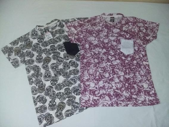 2 Camisetas Estampa De Caveira. Tam. P