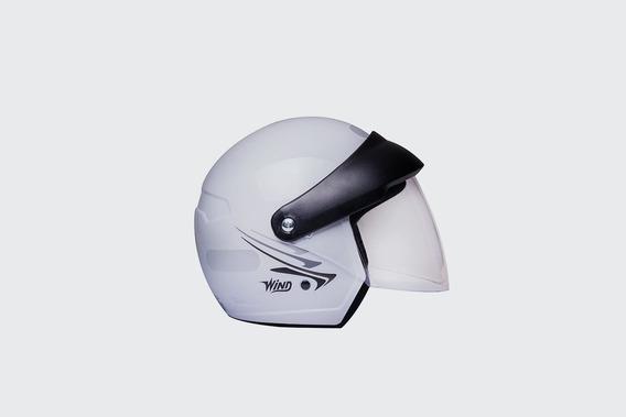 Capacete Taurus Wind V2 Aberto Branco 56 58 Com Viseira