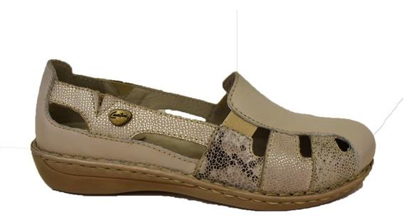 Zapato Acanalado Chatita Zapatilla Cavatini Calado Cuero Mujer
