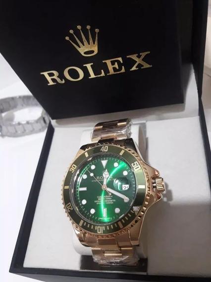 Relógio Masculino Submariner Dourado Verde + Frete Grátis