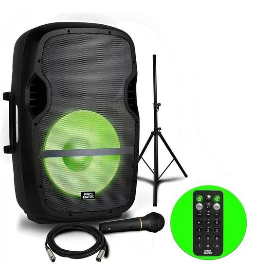 Caixa Pro Bass Ativa Elevate Lp 160w Rms 15 +tripé+microfone