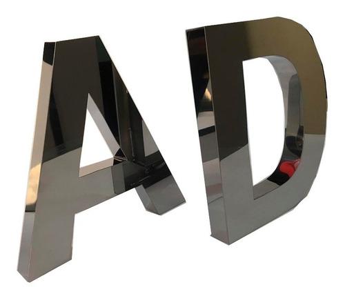 Letras Em Aço Inox Letreiro Caixa Números 3d Fachada 30 Cm