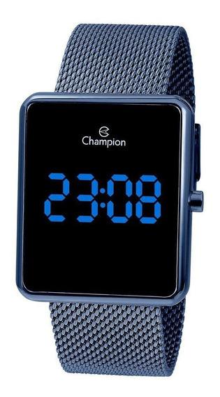 Relogio Champion Feminino Ch40080a Digital Quadrado Azul