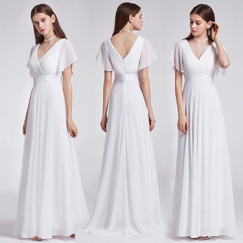 Vestido Largo Gasa Color Blanco Con Mangas Cortas Importado