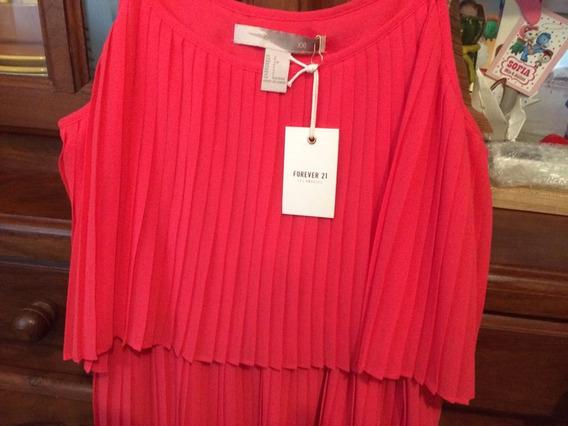 Forever 21 Vestido Plisado Promo Nuevo Con Etiquetas Talle S