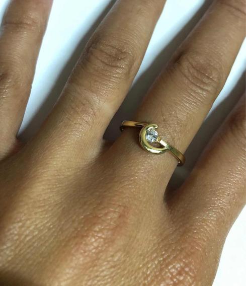 Anel Meia Lua Com Pedra Zirconia Ouro 18k (750)