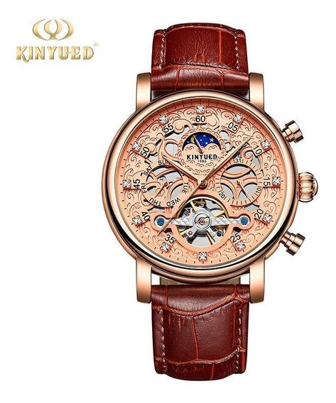 Reloj Para Hombre Automático Tourbillon Kinyued J026 Cafe