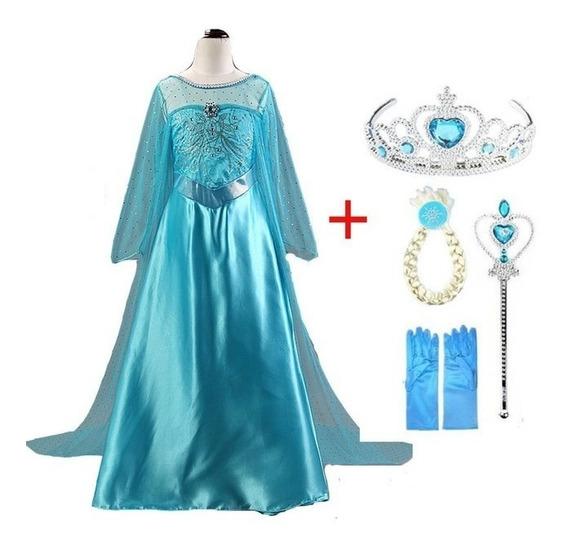 Vestido Frozen Elsa Disfraz + Corona Trenza Varita Y Guantes