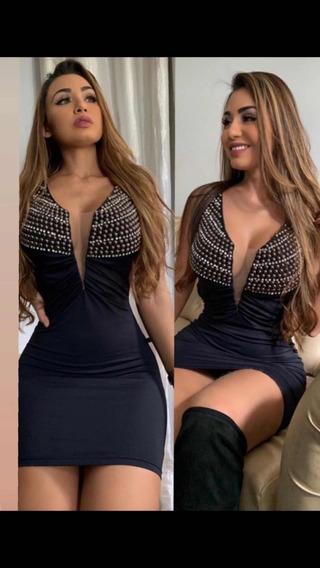Vestido Bordado Decote Curto Sensual Sexy Panicat Balada
