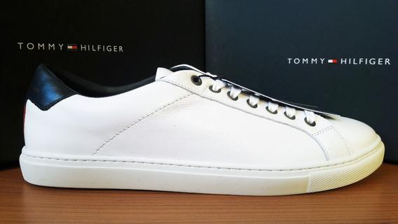 Tenis Tommy Hilfiger Hombre Blancos Piel 100% Original Nuevo