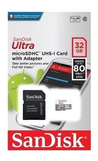 Cartão De Memória Micro Sd Ultra 32gb Classe10 80mbs Sandisk