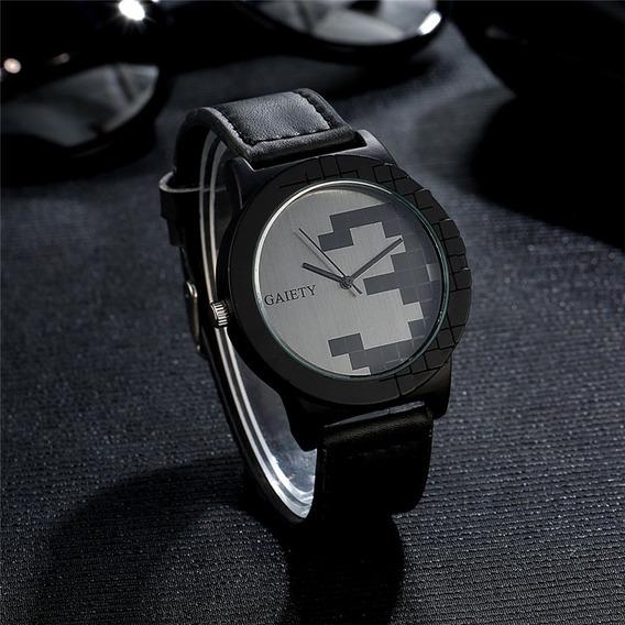 Relógio Masculino Gaiety Pulseira Em Couro Militar Original