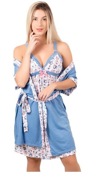 Camisola Amamentação Maternidade Com Robe Feminina Gestante