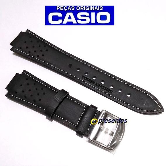 Pulseira Casio Ef-307l / Rl-300l Couro Preto 100% Original