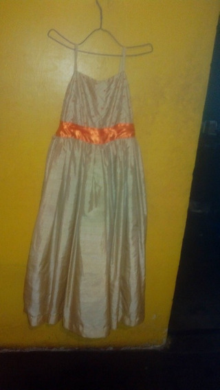 Vestido Largo Para Niña De Color Beis.