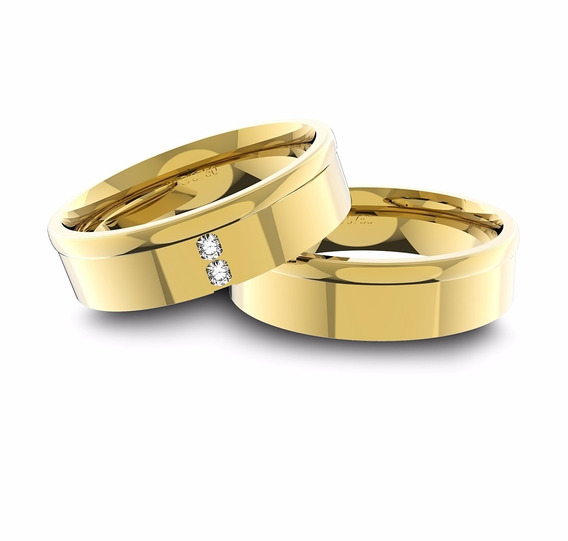 Alianças De Ouro 18k Anatômica Com Diamantes (6.0mm Largura)