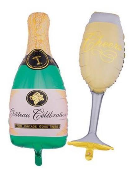 Globo Copa Y Botella Champagne 36 Pulgadas