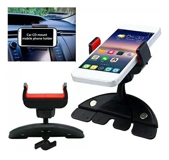 Kit 2 Suportes Celular Smartphone Entrada Cd Dvd Para Carro