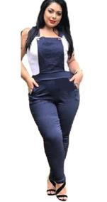 Macacão Plus Size Jardineira Longo Bengaline Moda Gg Barato