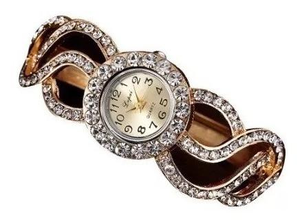 Relógio Feminino De Pulso Bracelete Strass Pulseira Luxo