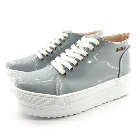 Tênis Flatform Quality Shoes 006 Verniz Cinza Sola Alta Com