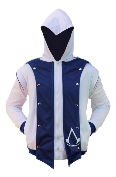Chamarra De Assassins Creed Blanca Con Azul