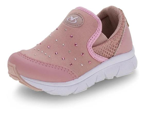 Tênis Feminino Infantil Via Vip Vv1072 Calça Fácil Rose