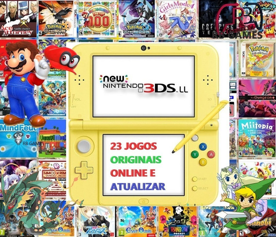 New 3ds Xl + 23 Jogos Originais + 32gb Pokemon, Mario, Zelda