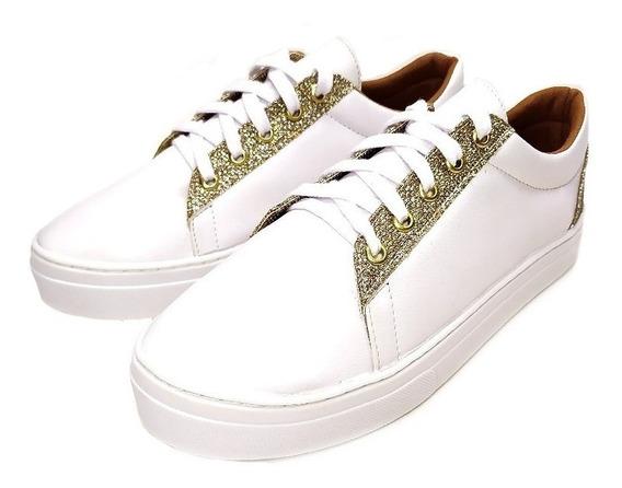 Tenis Feminino Branco Dourado 40 Ao 43 Numeração Especial