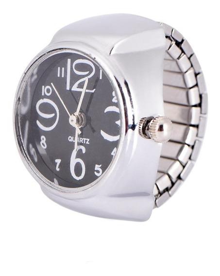 Relógio Feminino De Dedo Anel Mostrador Preto Quartz
