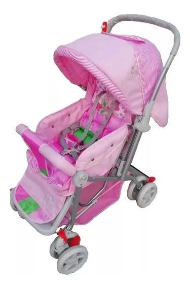 Carrinho Bebê Vira Berço Rosa Menina Com Alça Reversível