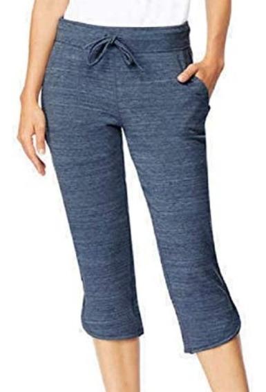 Pantalón Capri Mujer L Pkt 2 Azul Y Morado 32°