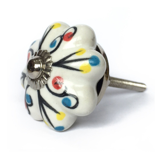 Lindo Puxador De Porcelana Colorido Indiano Natalie