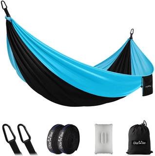 Olarhike Single Double Camping Hammock, Hamaca,azul+negro