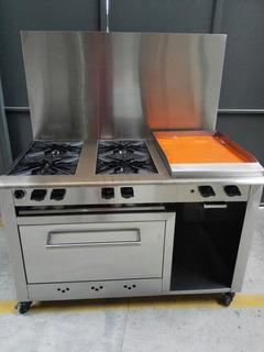 Cocina De Gas Acero Inoxidable 4 Quemadores Horno Y Plancha