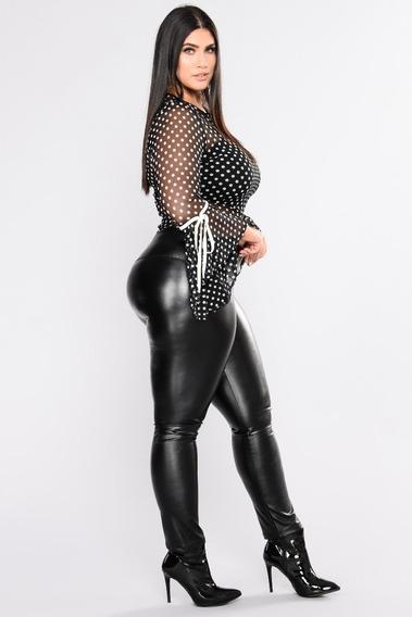 Pantalón Calza Engomada De Cuero Negro Talles Especiales