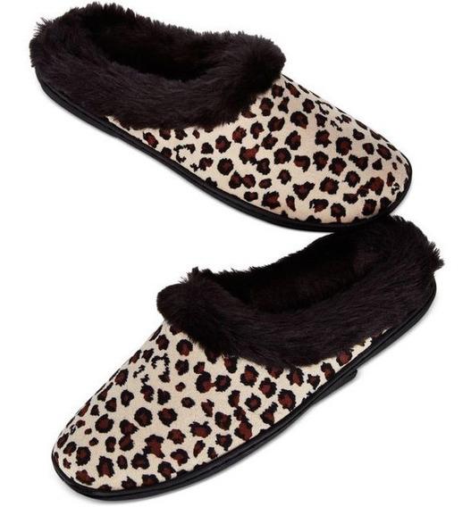 Pantunflas Dama Talla Extra Xl 11-12 / 28-29 Leopardo