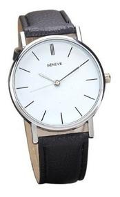 Kit 3 Relógios Unissex Design Clássico Branco,preto E Marrom