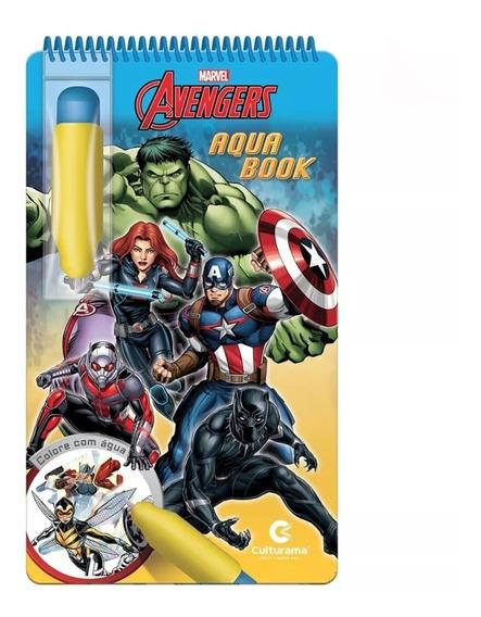 Aquabook Vingadores Marvel Pinta Com Água Livro Capa Dura