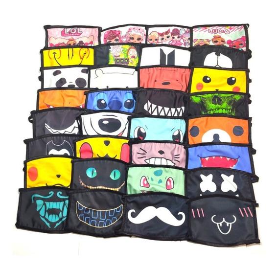Cubrebocas Negro Lote 50 Piezas Mayoreo Kpop Oso Emoji Bts