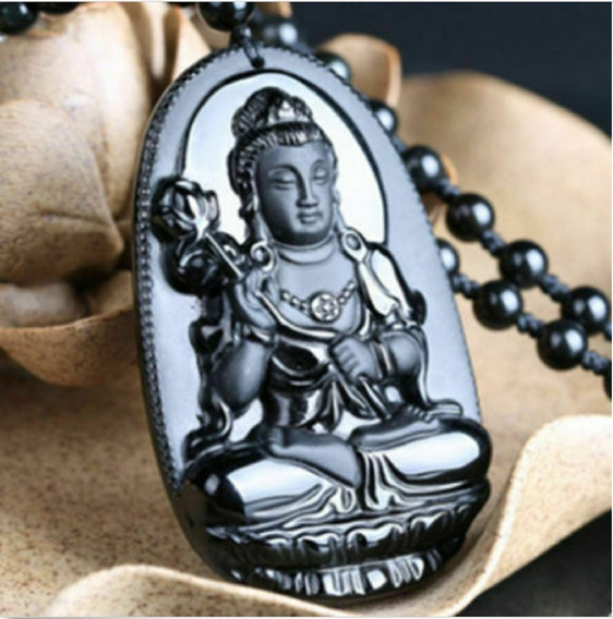 Colar Natural Pedra Obsidiana Esculpida Mão Guanyin Amuleto